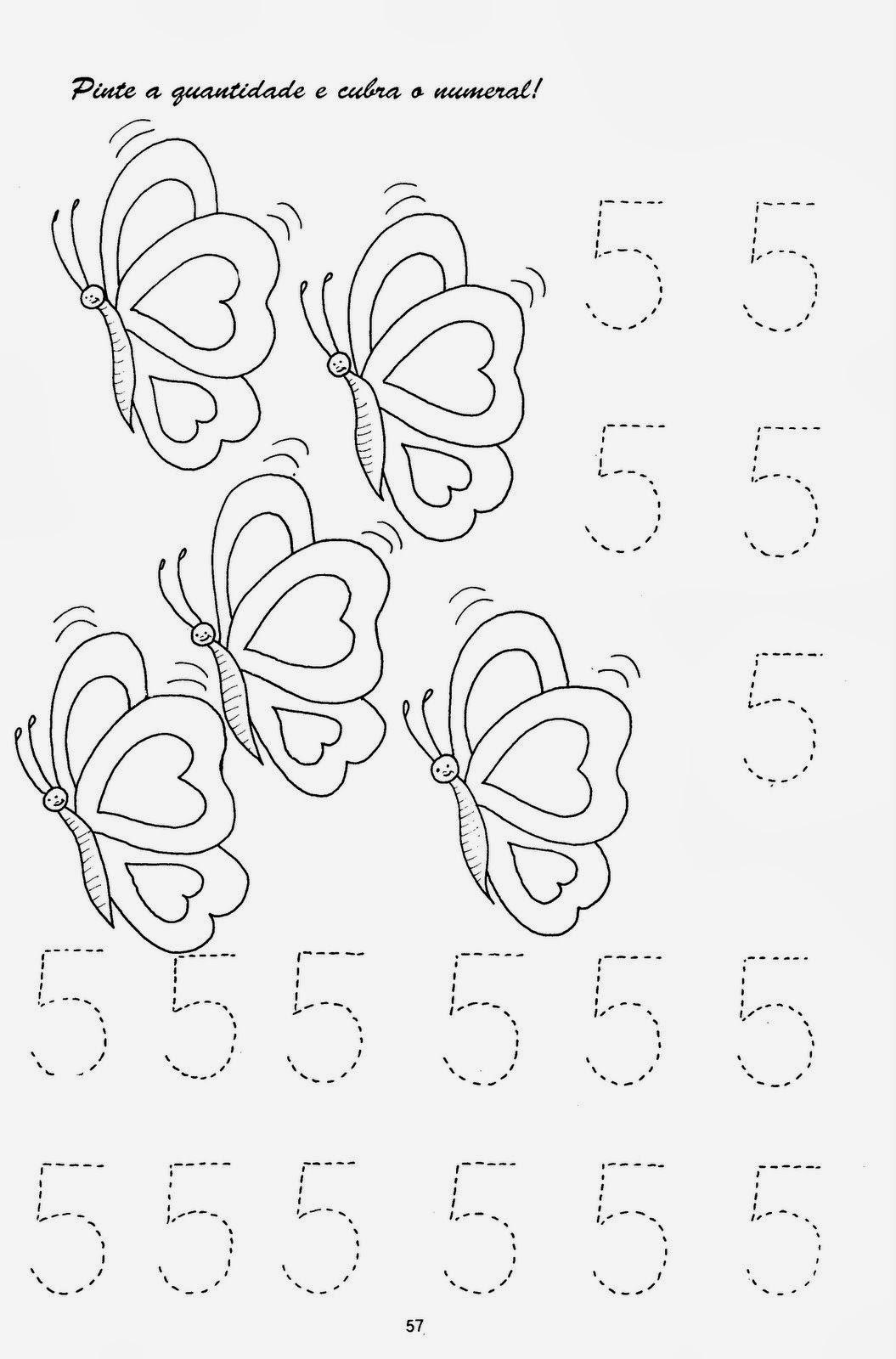 Famosos Exercícios com desenhos e números pontilhados | Atividades Jardim  ZP72