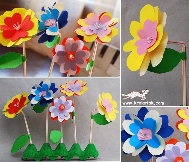 flores para um jardim colorido:Egg-Carton Flowers